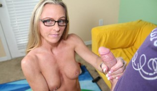 milf giving a sensual handjob