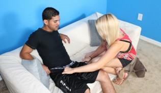 blonde hottie undressing a lucky guy