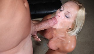 blonde pornstar licks cum after getting facialed