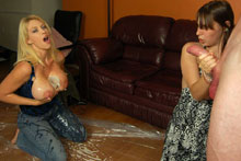Lucky Stud Gets To Cup And Spurt His Jizz On Two Big Busted Babes