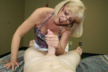Blonde Granny Gets Her Face Blasted With Fresh Jizz After A Hand Job