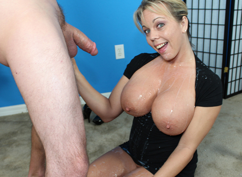 3 Cumshot Movies - Busty Milf Amber jerk off big cock and get loads of jizz on her face