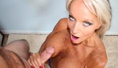 1 Handjob Movies - Horny milf Sally stroking young big dick